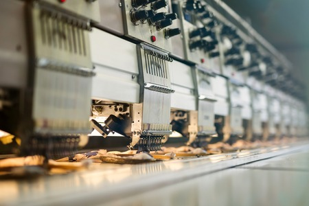 Foto de Fabric industry machinery production line - Imagen libre de derechos