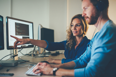 Photo for Software engineers working on project and programming in company - Royalty Free Image