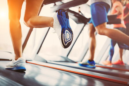 Foto per Picture of people running on treadmill in gym - Immagine Royalty Free