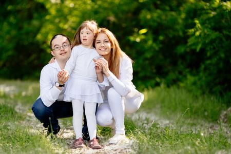 Photo pour People with down sydrome are equally happy - image libre de droit