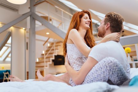Photo pour Couple in love enjoying foreplay - image libre de droit