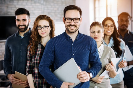 Photo for Portrait of successful business team posing in office - Royalty Free Image