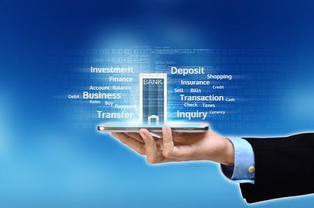 Foto de Visualization of mobile or internet based banking concept - Imagen libre de derechos