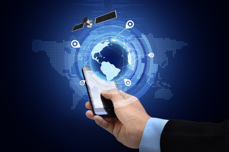 Foto de Conceptual image of Global Positioning System GPS on smart phone - Imagen libre de derechos