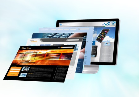 Photo pour Internet concept with websites pages in front of monitor screen - image libre de droit