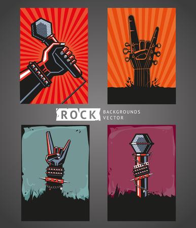 Illustration pour Rock backgrounds. Four templates for rock posters. - image libre de droit