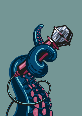 Illustration for Octopus tentacle is holding a microphone. - Royalty Free Image