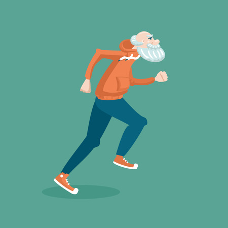 Illustration for Running grandfather. Cartoon  illustration of a healthy lifestyle. - Royalty Free Image