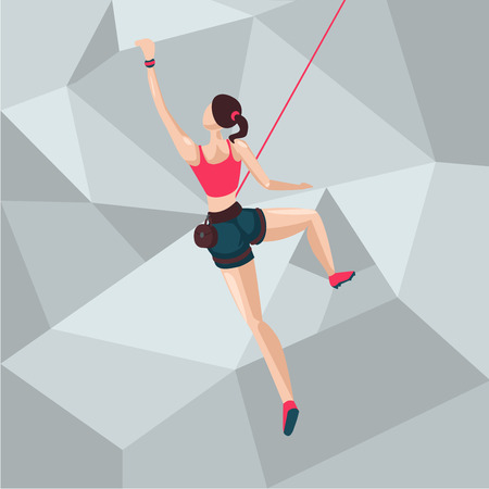 Illustration pour Sport girl on a climbing wall. Cartoon character illustration. Back view. - image libre de droit