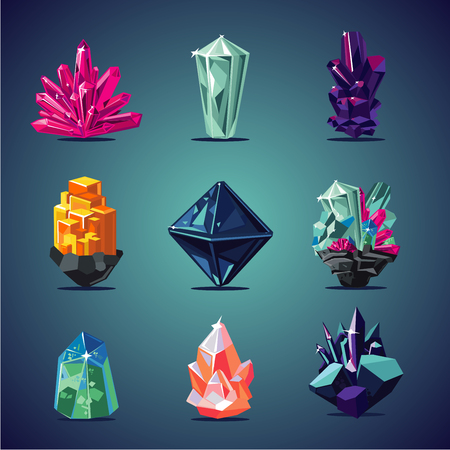 Illustration for Crystal isolated icons set. Magic stones collection. - Royalty Free Image