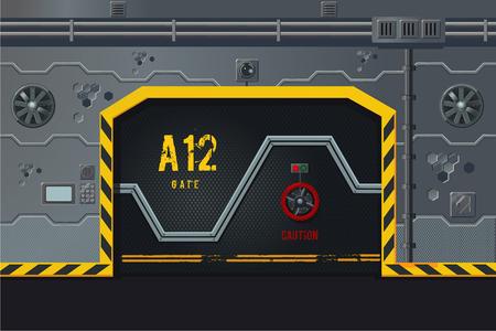 Ilustración de Futuristic spaceship wall with door. Game design level concept. Sci-fi background. - Imagen libre de derechos