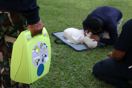 Foto de CPR and AED, Automated External Defibrillator training for Rescue and first aid in Thailand. - Imagen libre de derechos