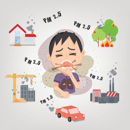 Ilustración de Man cough with dirty lung because PM2.5 air pollution.PM 2.5 Infographic. Information about dust PM2.5 source. Air pollution. - Imagen libre de derechos