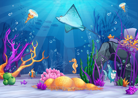 Illustration pour Illustration of the underwater world with a funny fish and fish ramp - image libre de droit