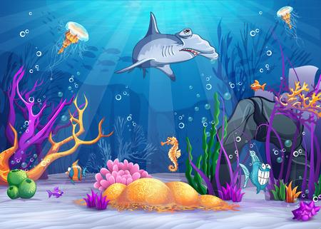Ilustración de Illustration of the underwater world with a funny fish and hammerhead shark - Imagen libre de derechos