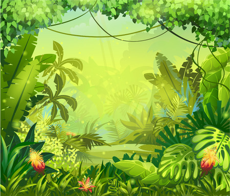 Illustration pour Illustration jungle with red flowers - image libre de droit