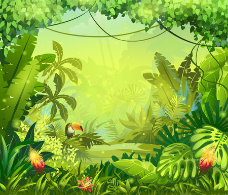 Illustration pour llustration with flowers and jungle toucan - image libre de droit