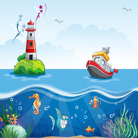 Illustration pour illustration in cartoon style of a ship at sea and fun fish - image libre de droit