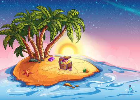 Illustration for Illustration island with palm trees and a treasure chest - Royalty Free Image