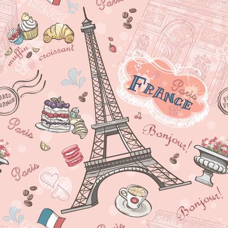 Foto de Seamless pattern on Paris from the romantic elements - Imagen libre de derechos