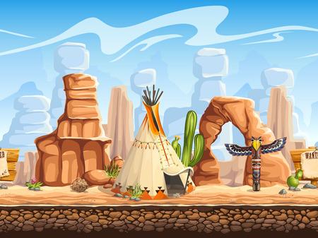 Illustration pour Tileable horizontal background wild west. Set3 - image libre de droit