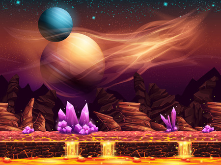 Illustration pour Illustration of a fantastic landscape of the red planet with purple crystals horizontal seamless texture for the game design - image libre de droit
