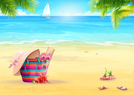 Illustration pour Summer illustration with a beach bag in the sand against sea and white sailboat - image libre de droit