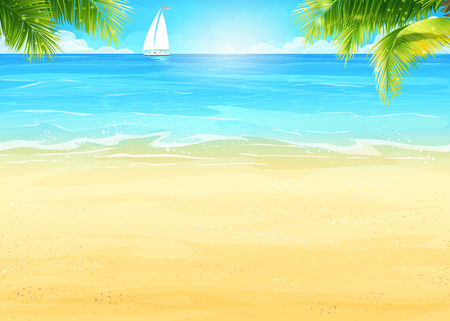 Illustration pour Illustration Summer beach, palm trees on the background of sea and white sailboat - image libre de droit