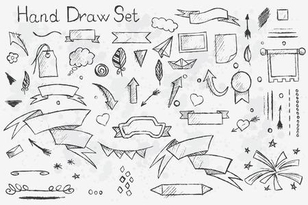 Illustration pour A hand-drown set on white background of pencil elements: arrows, brushes, banners etc with black outlines - image libre de droit