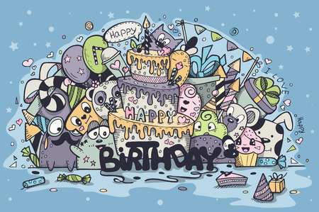 Illustration pour Greeting card for birthday party with doodles - image libre de droit