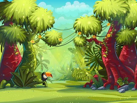Illustration pour Illustration sunny morning in the jungle with bird toucan - image libre de droit