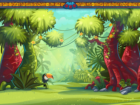 Illustration pour Illustration of a toucan jungle and Mayan writing - image libre de droit