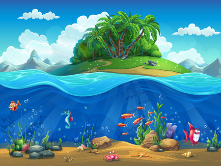 Ilustración de Cartoon underwater world with fish, plants, island - Imagen libre de derechos