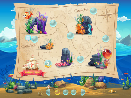 Illustration pour Fish World - Illustration example screen levels, game interface with progress bar, objects, buttons for gaming or web design - image libre de droit