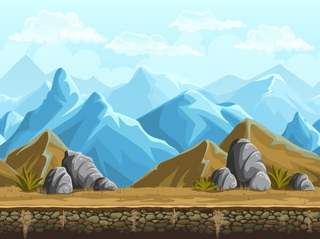 Illustration pour Seamless background of cartoon snowy vector mountains - image libre de droit