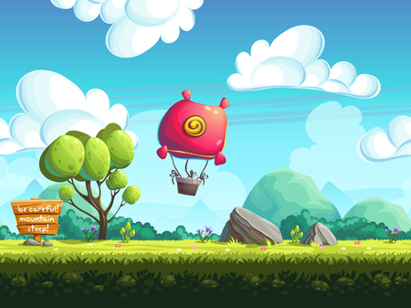 Illustration pour seamless vector background blimp above the hills - image libre de droit
