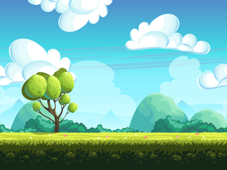 Illustration pour Seamless vector background trees and stones from the hills - image libre de droit