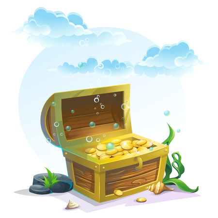 Illustration pour Chest of gold in the sand under the blue clouds - vector illustration for design, banners, textures, backgrounds, postcards - image libre de droit
