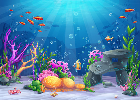 Illustration pour Marine Life Landscape - the ocean and underwater world with different inhabitants. For print, create videos or web graphic design, user interface, card, poster. - image libre de droit