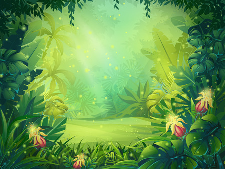 Illustration pour Vector cartoon illustration of background morning rainforest. Bright jungle with ferns and flowers. For design game, websites and mobile phones, printing. - image libre de droit