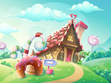 Illustrazione per Sweet house of cookies and candy - Immagini Royalty Free