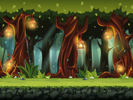 Illustration pour Vector cartoon illustration of the fairy forest. - image libre de droit