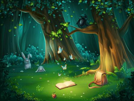 Illustration pour Vector cartoon illustration of background forest glade - image libre de droit