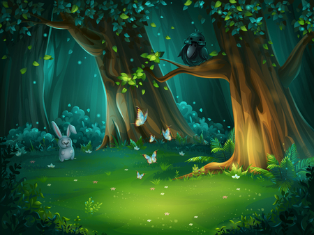 Illustration pour Vector illustration of a forest glade with hare and butterflies - image libre de droit