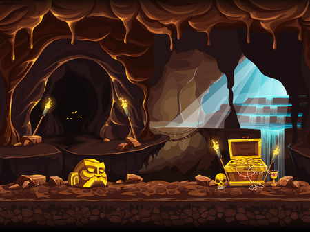 Illustrazione per Illustration of the treasure cave with a waterfall and chest - Immagini Royalty Free