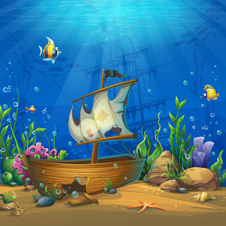Ilustración de Undersea world with ship. Marine Life Landscape - the ocean and the underwater world with different inhabitants. For design websites and mobile phones, printing. - Imagen libre de derechos