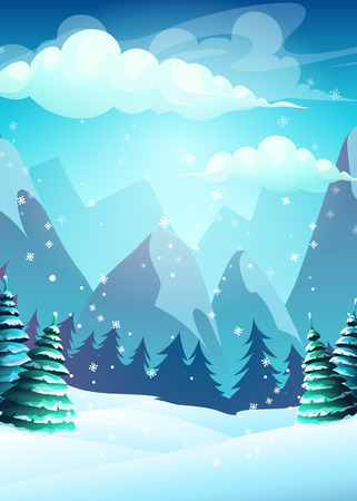 Illustration pour Vector illustration cartoon winter landscape. For web, video games, user interface, design - image libre de droit