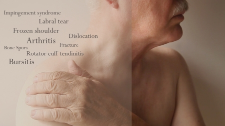 Photo pour man with hand on shoulder with words of joint ailments - image libre de droit