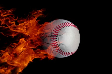 Baseball at high speed catching fire and burning with cracks