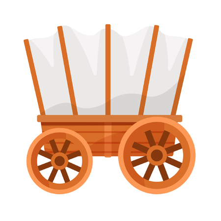 Illustration pour Vector illustration on a colorless background with a wooden wagon. - image libre de droit